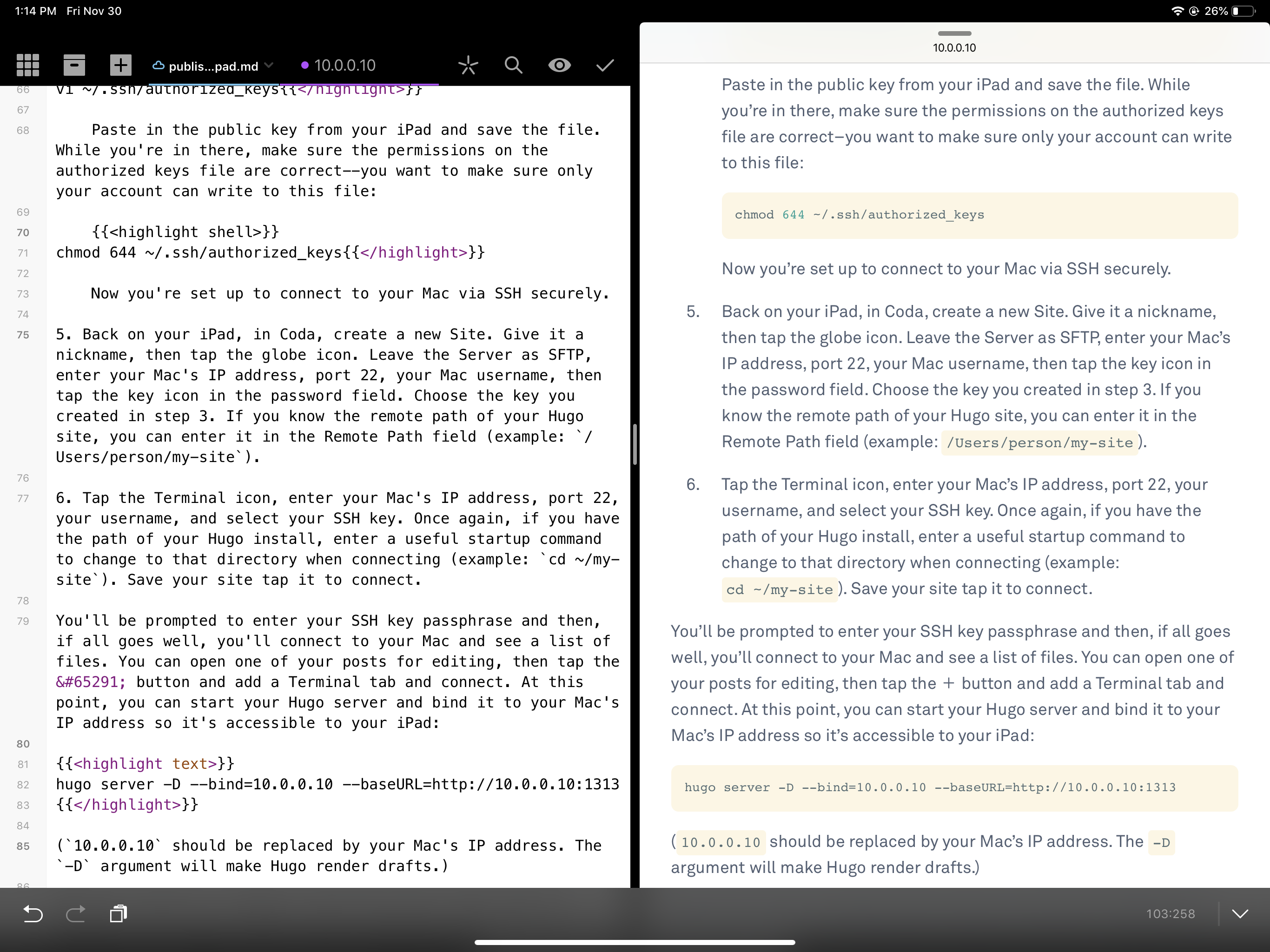 Coda + Safari Split View on iPad Pro